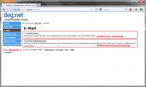 DegNet - Portal - E-Mail Menü
