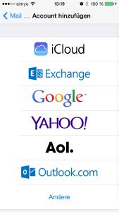 iOS Auswahl des Kontotyps