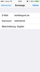 iOS Eingabe der Zugangsdaten