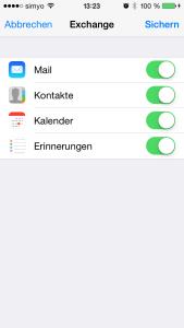 iOS Auswahl der Synchronisationsobjekte